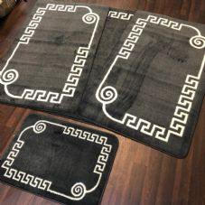 ROMANY WASHABLES GYPSY MATS 4PC SET SOFT GREEK DESIGN CHARCOAL GREY RUGS NEW